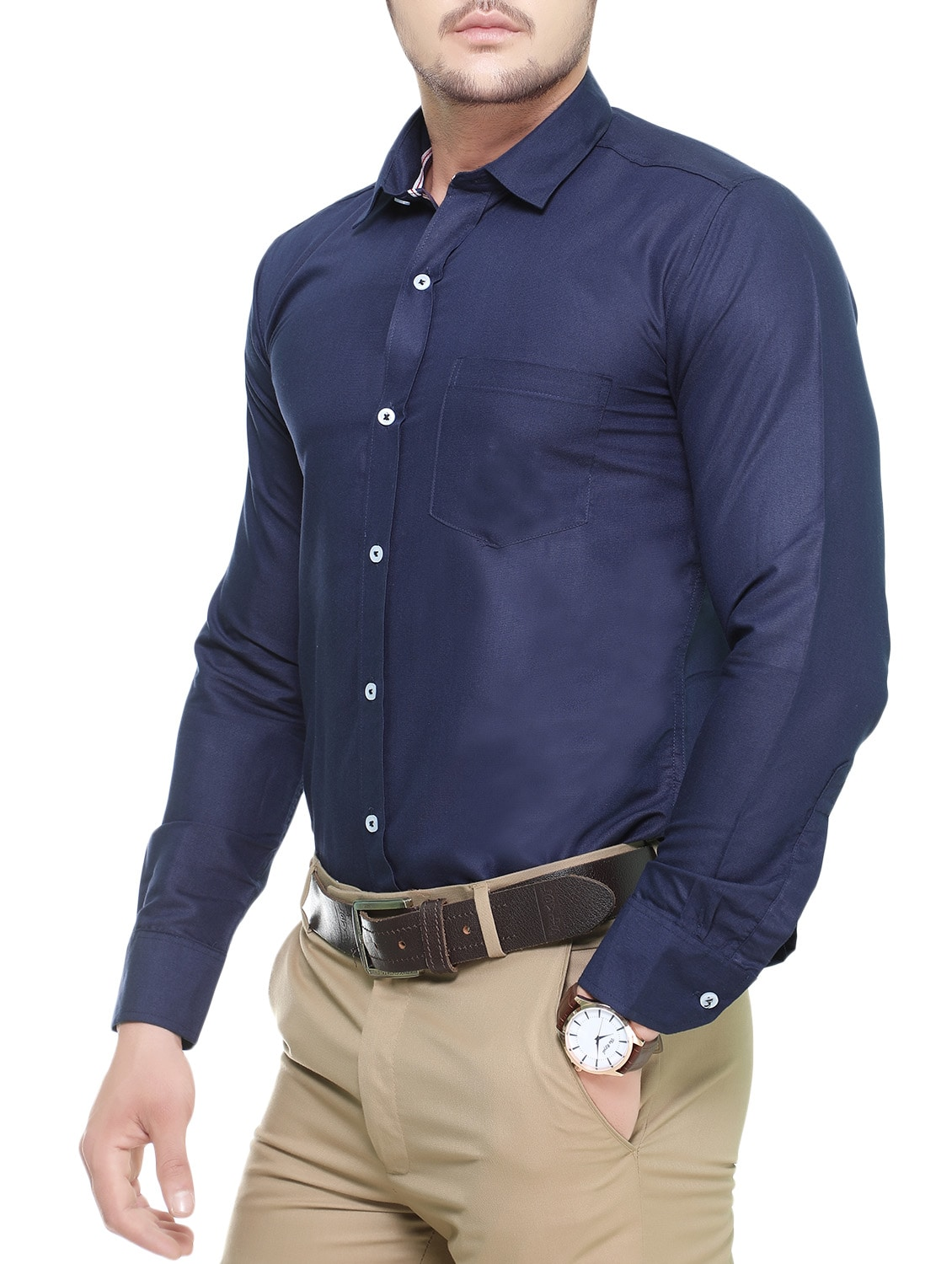 6c3d641bb12c16 Buy Navy Blue Cotton Casual Shirt for Men from Nimegh for ₹482 at 56% off