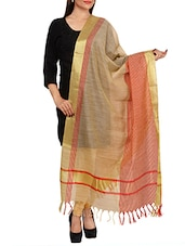 beige woven tussar silk dupatta -  online shopping for Dupattas