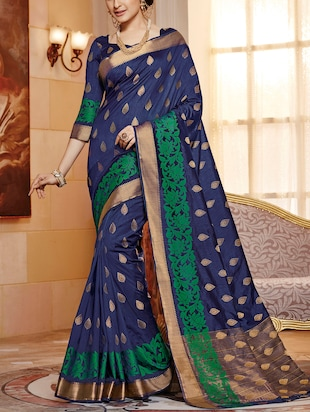 blue raw silk woven saree -  online shopping for Sarees