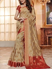 beige raw silk woven saree -  online shopping for Sarees