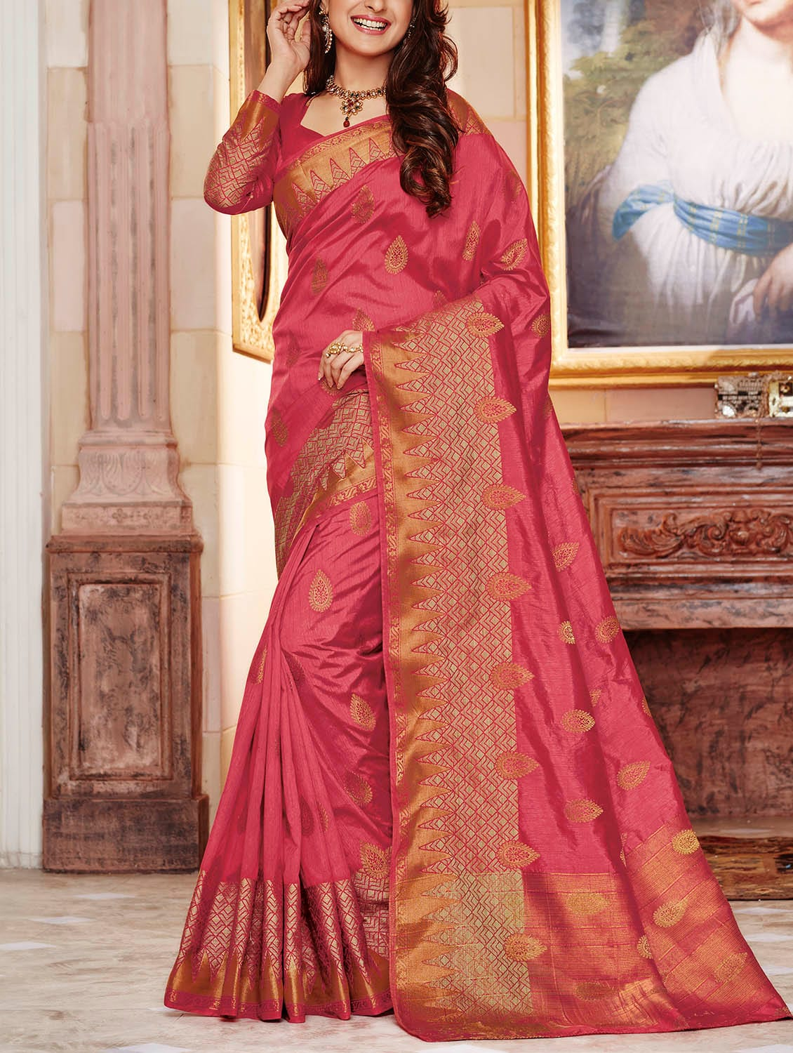 8a2e7e0ae8cdbf Buy Pink Raw Silk Woven Saree With Blouse by The Fashion Attire - Online  shopping for Sarees in India