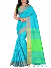Turquoise silk bordered saree -  online shopping for Sarees