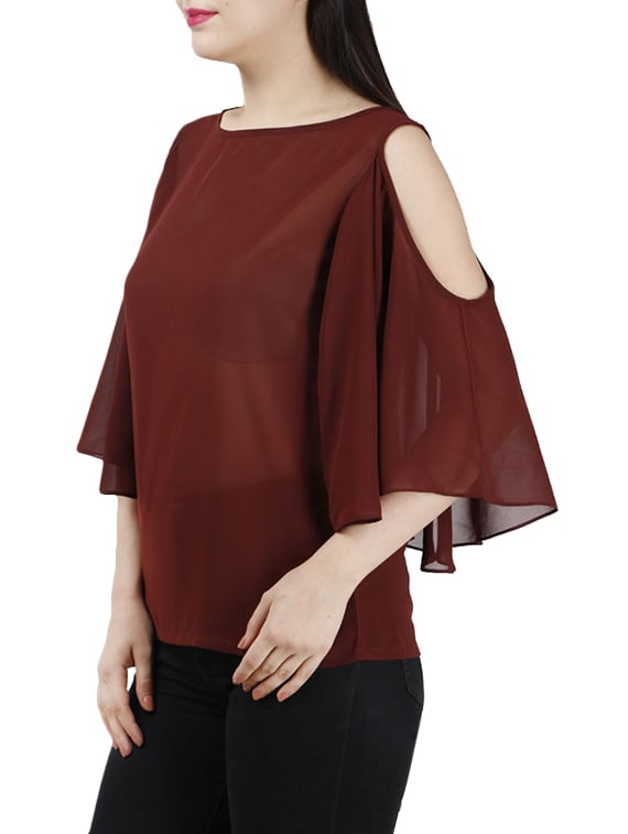 b545eb4a8aa87e Buy Solid Brown Top With Cold Shoulder Sleeve by Jha Fashion - Online  shopping for Tops in India