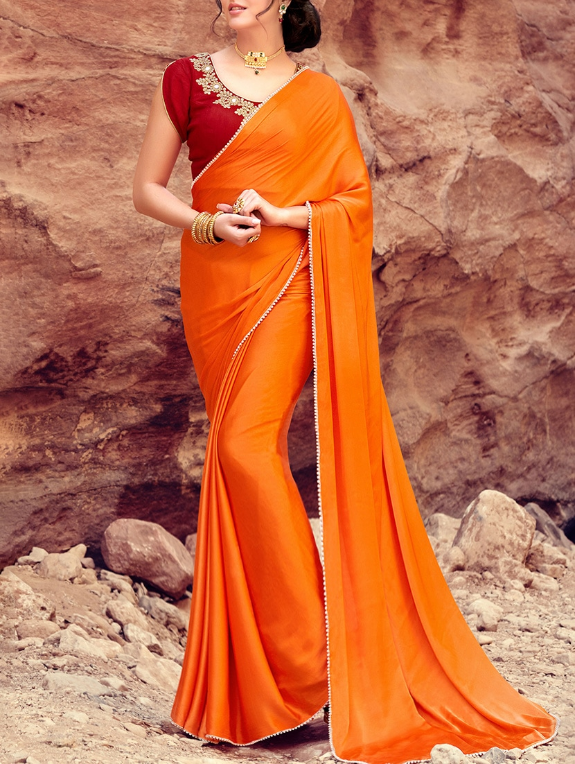 33875083901fa6 Buy Orange Plain Satin Saree With Blouse for Women from Shaily for ₹1377 at  77% off