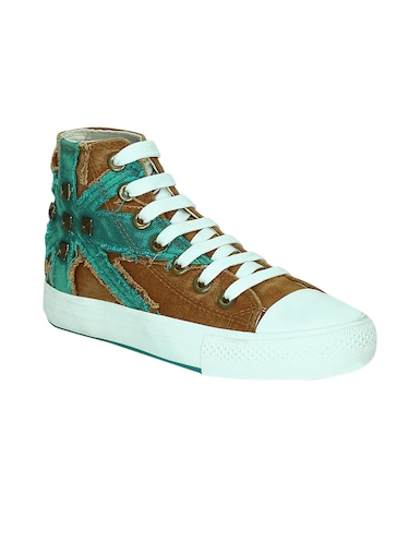 brown canvas laceup sneakers - 13938009 - Standard Image - 1