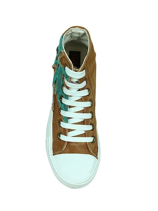 brown canvas laceup sneakers - 13938009 - Standard Image - 4