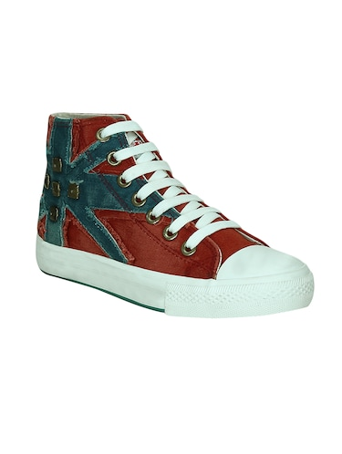 red canvas laceup sneakers - 13938010 - Standard Image - 1