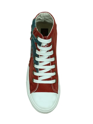 red canvas laceup sneakers - 13938010 - Standard Image - 4