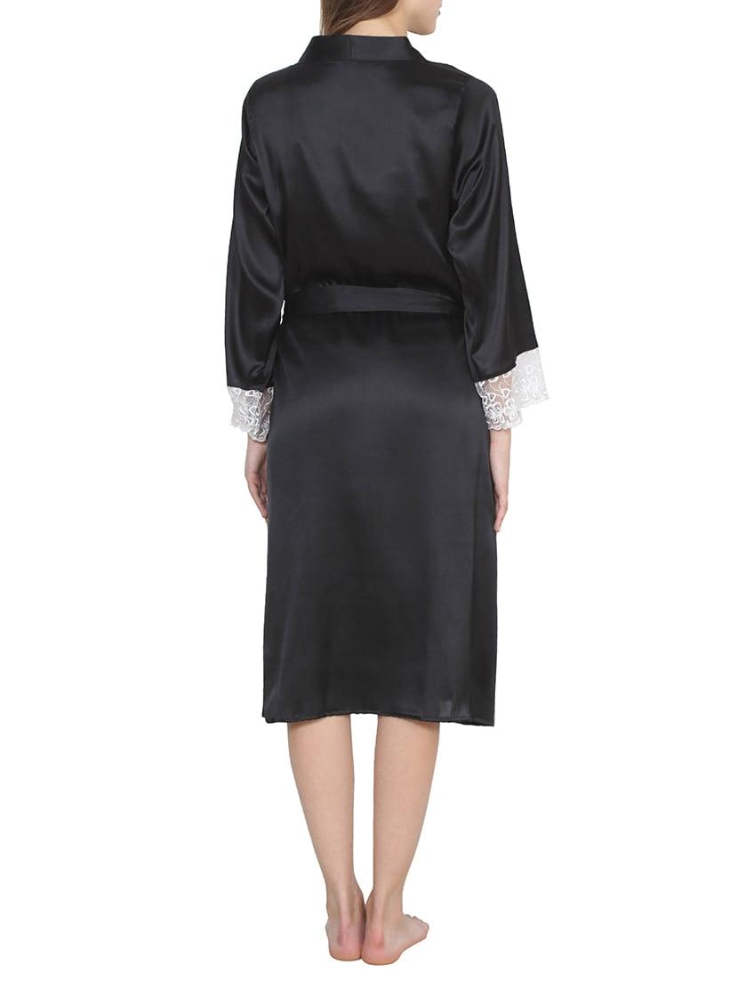 f8350f9d862ad Black Satin Nighty With Robe Set