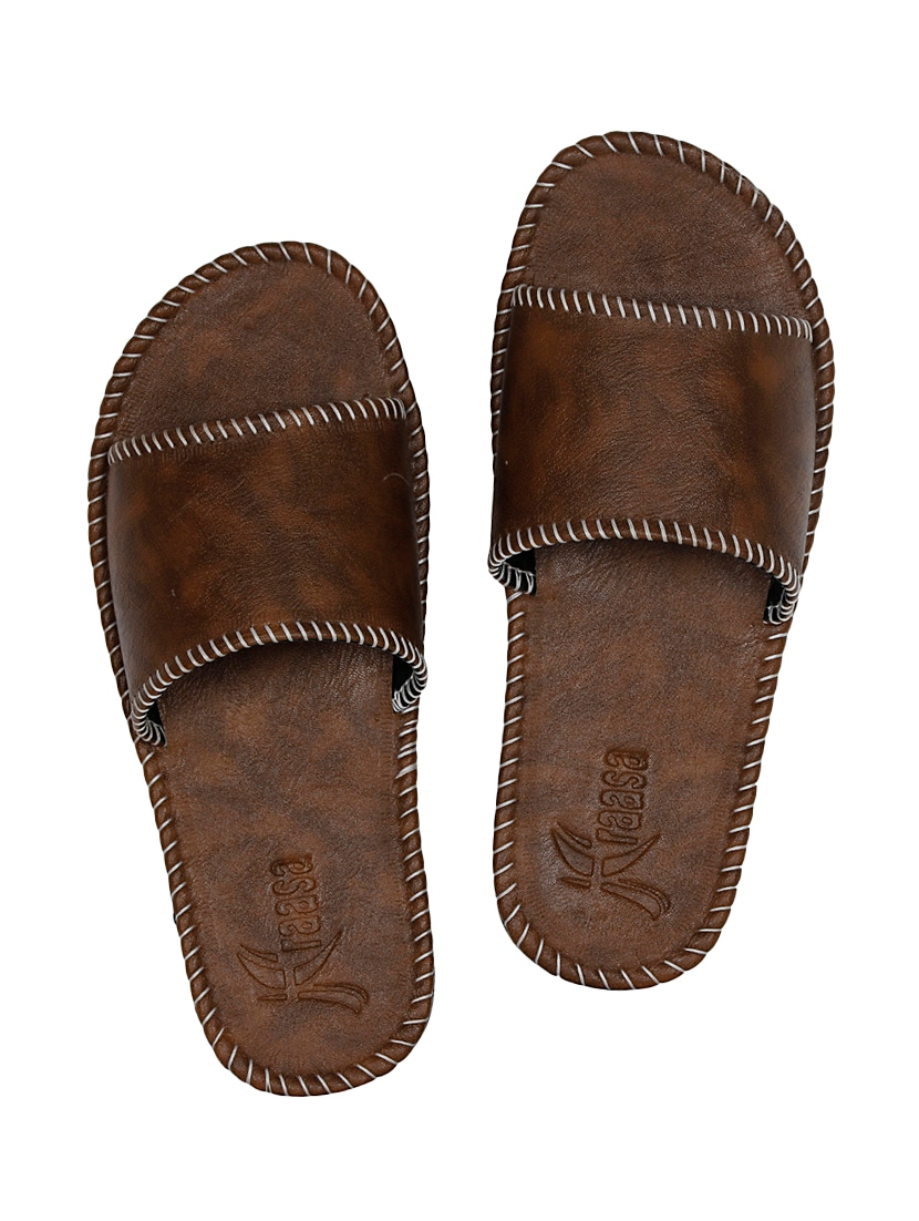 8464a83ec71a1b Buy Brown Leatherette Slip On Slipper for Men from Kraasa for ₹522 at 42%  off