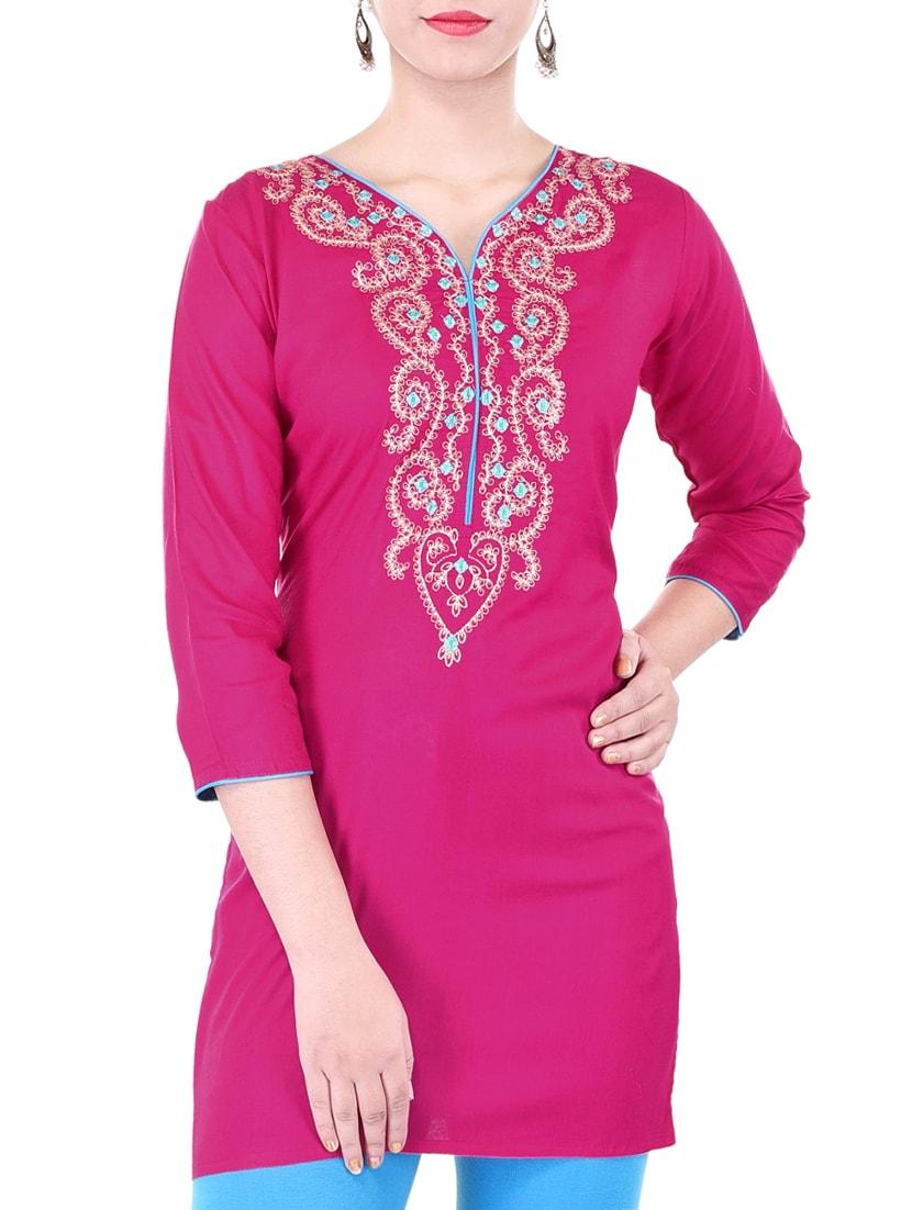 pink cotton embroidered straight kurti