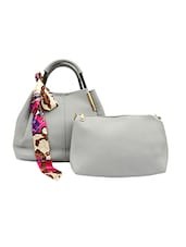 grey leatherette handbag with pouch -  online shopping for handbags