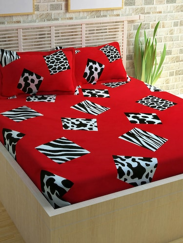 Story @ Home 300 TC 100% Cotton Red 1 Double Bedsheet With 2 Pillow Cover - 13975177 - Standard Image - 1