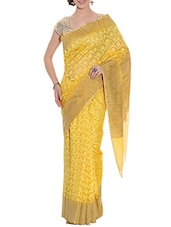 yellow net woven saree -  online shopping for Sarees