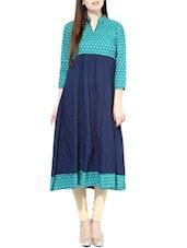 Turquoise Cotton Anarkali Kurta - By