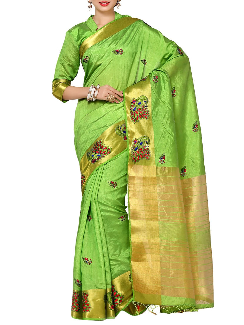 2c71ac20bc Buy Gold Border Embroidered Saree With Blouse for Women from Mimosa for  ₹1262 at 65% off | 2019 Limeroad.com