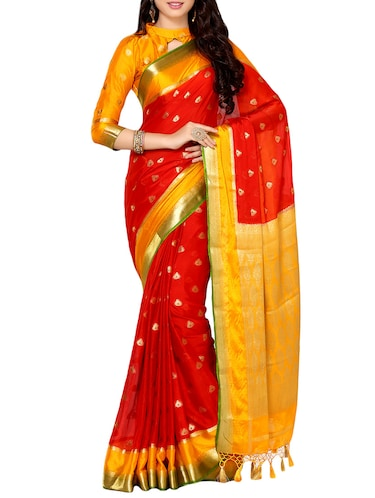red crepe kanjivaram saree with blouse - 13982943 - Standard Image - 1