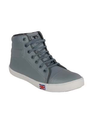 grey leatherette lace up sneaker -  online shopping for Sneakers
