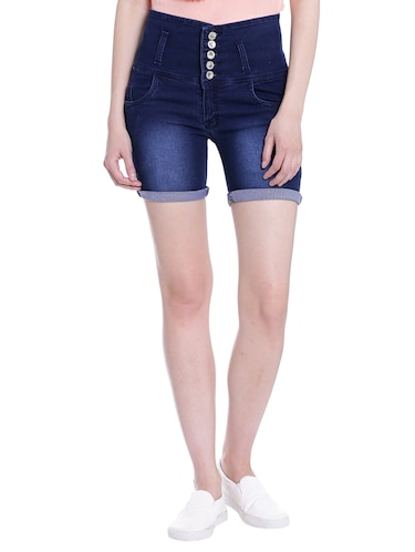 dark blue denim shorts - 13985440 - Standard Image - 1