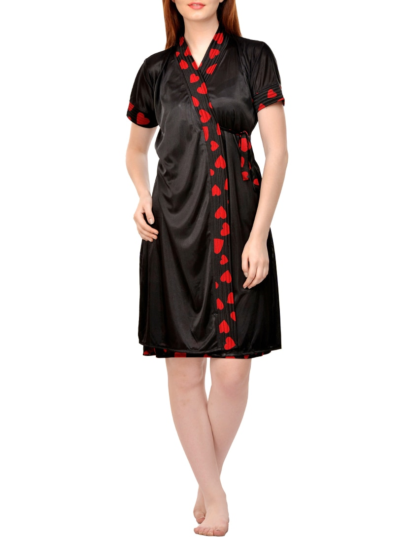 eb68aa0e68 Buy Black Printed Satin Nighty And Robe Set by Boosah - Online shopping for  Sleepshirts   Nighties in India