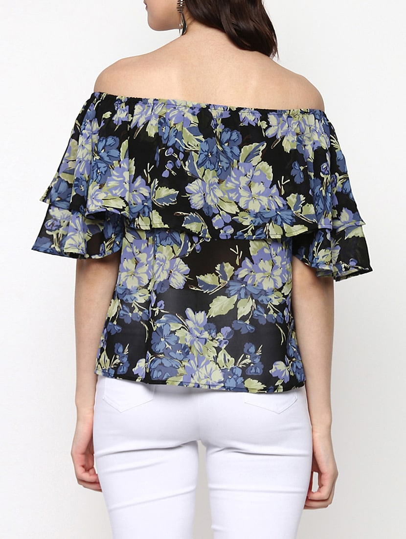 e05498d842cb6b Buy Black Floral Printed Georgette Layered Top by Sassafras - Online  shopping for Tops in India
