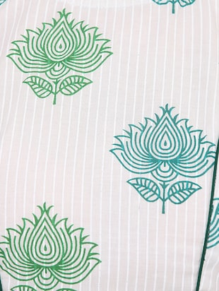 White & green cotton block printed stitched blouse - 13993950 - Standard Image - 4