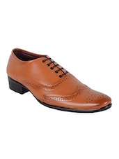 tan leatherette lace-up brouge -  online shopping for Brouges