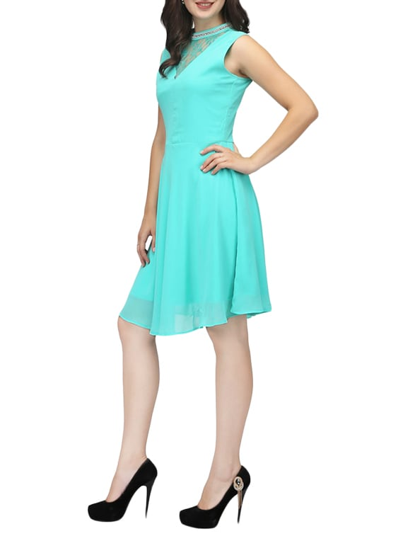 b338eeb53fa0 Buy Light Blue Georgette Skater Dress for Women from Karmic Vision for ₹989  at 57% off
