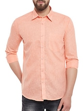 orange cotton blend casual shirt -  online shopping for casual shirts