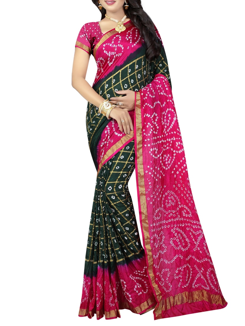 9a609be49e Buy Green Silk Bandhani Saree With Blouse for Women from Dealsure for ₹2399  at 52% off | 2019 Limeroad.com