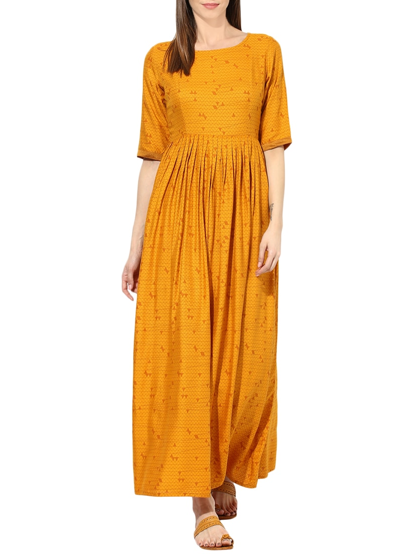 997a0b5ee10 Buy Yellow Printed Cotton Maxi Dress for Women from Aks for ₹1035 at 39%  off