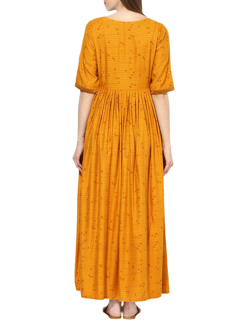 465f8b9104b Buy Yellow Printed Cotton Maxi Dress for Women from Aks for ₹1035 at 39%  off