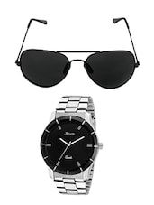 Arum  Trendy Black In Silver  Watch With Black Sunglass -  online shopping for Men Watch Combos