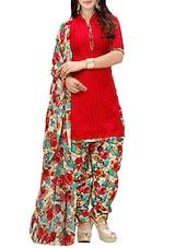 red cotton patiyala suits dress material -  online shopping for Dress Material