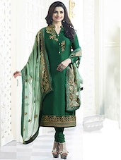 dark green satin embroidered semi-stitched churidaar suit -  online shopping for Semi-Stitched Suits