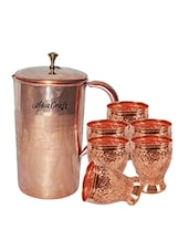 AsiaCraft Pure Copper Embossed Jug & 6 Hand Carved Glass Set -  online shopping for Bottles & Jugs