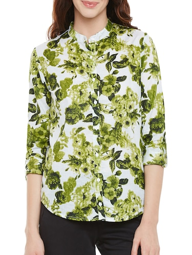 green floral printed cotton regular shirt - 14073777 - Standard Image - 1