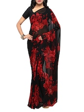black georgette printed saree -  online shopping for Sarees