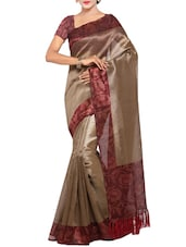 brown tussar saree with blouse -  online shopping for Sarees