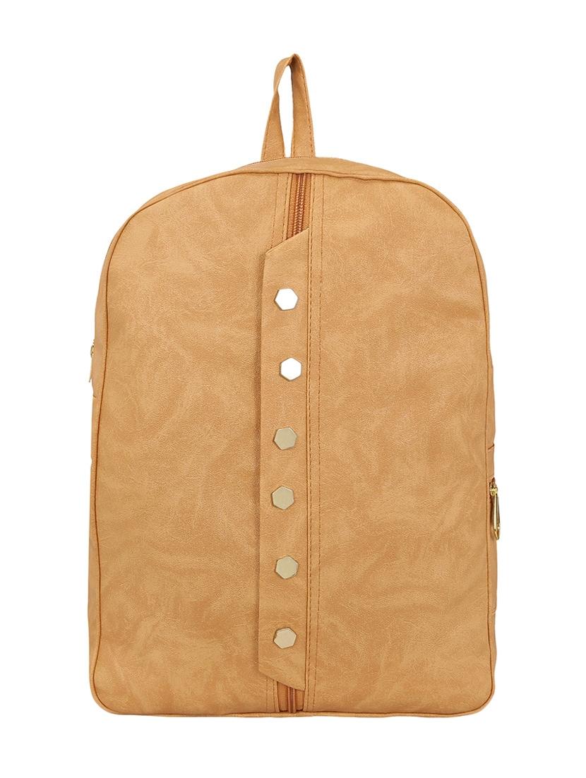 beige leatherette fashion backpack