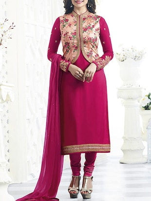 pink churidaar suits semi-stitched suit -  online shopping for Semi-Stitched Suits