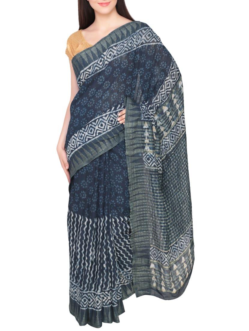 Buy Indigo Blue Batik Doted Print Cotton Silk Saree With Blouse by Inara  Robes - Online shopping for Sarees in India  81da94e42