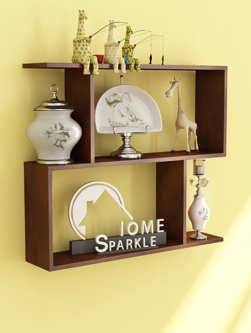 Buy Engineered Wood Z-shaped Wall Shelf By Home Sparkle by Home ...
