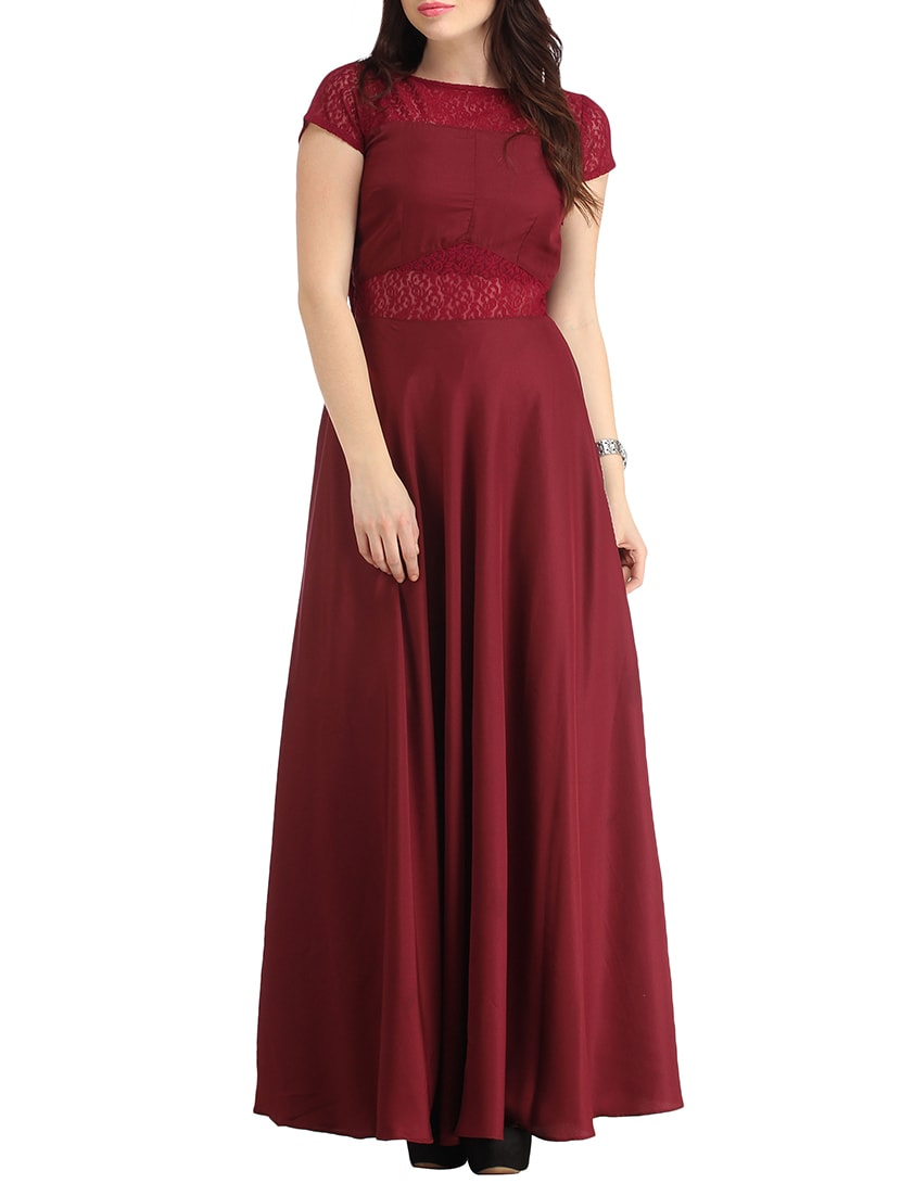 Buy Maroon Crepe Maxi Gown by Raas Pret - Online shopping for ...