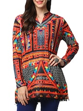 Multicolored polyester blend straight kurti -  online shopping for woolen kurtis