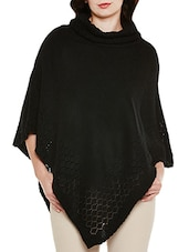 black wool poncho -  online shopping for Ponchos