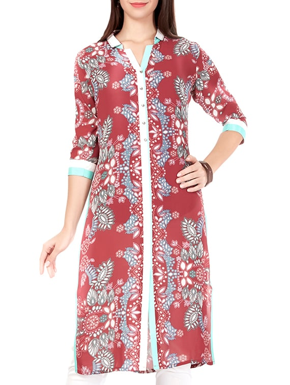 cb6f4d791f6 Buy Maroon Georgette Straight Kurta by Prom Girl - Online shopping for  Kurtas in India