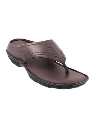 brown Leatherette toe separator slipper - online shopping for Slippers