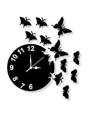 Black MDF Wall Clock By Enamel Décor -  online shopping for Wall Clocks