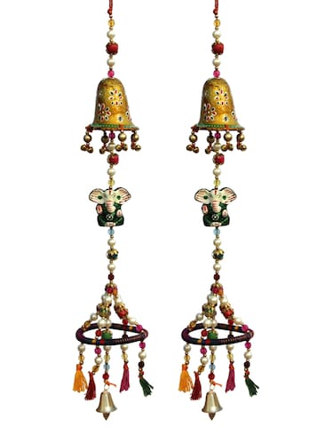 Door Hanging With Painted Bell With Ganesha and Ring at the Bottom With Pearl bead Threading Set of 2 By  Handicrafts Paradise - 14120269 - Standard Image - 1